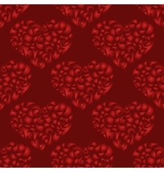flourish heart red seamless pattern vector image