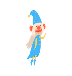 funny gnome wearing in a blue with painted face vector image