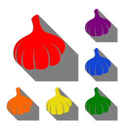 Garlic simple sign set of red orange yellow vector