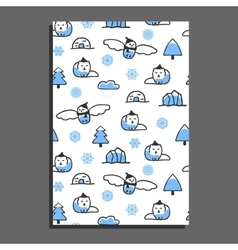 Greeting card template with cute cartoon snowy owl vector image vector image