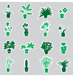 Home houseplants and flowers in pot stickers eps10 vector