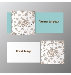 Horizontal banner template ornate flower vector image