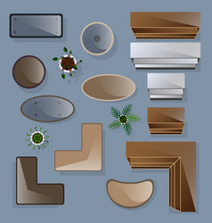 icons set of interior top view vector image