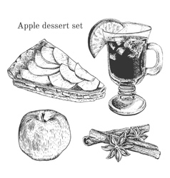 Ink apple dessert set with apples cinnamon vector image vector image