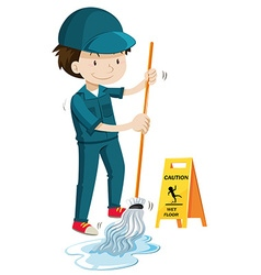 Janitor mopping the wet floor vector