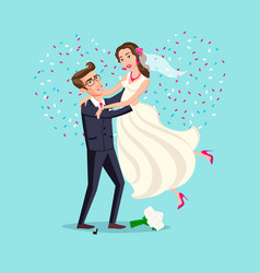 just married funny couple bride and groom dance vector image