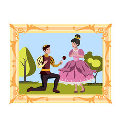 Prince and princess in the picture vector