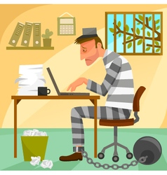 prisoner of work vector image vector image