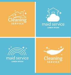 Set cleaning and maid service label collection vector