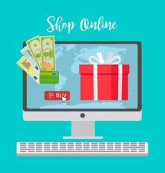 shop online concept with red present vector image vector image