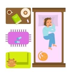 Sleeping woman in bedroom vector