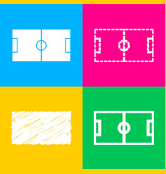 Soccer field four styles of icon on four color vector