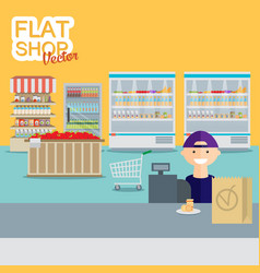 supermarket in flat design vector image