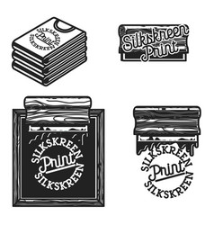 vintage silkskreen print emblems vector image vector image