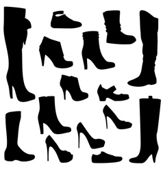 Womens shoes set black isolated vector