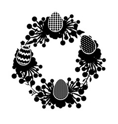wreath floral with easter eggs vector image
