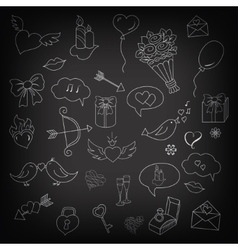 Set of love doodles objects and elements symbols vector image