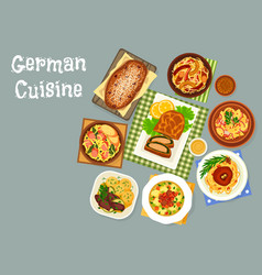 german cuisine meat and fish dinner dishes icon vector image