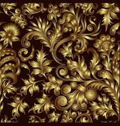 Gold pattern on black background with hand vector