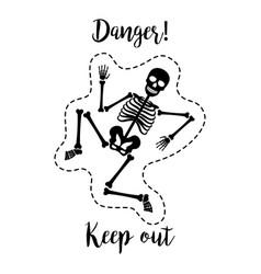 fashion patch element skeleton vector image