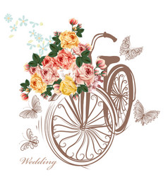 Bicycle with basket fully of rose flowers vector