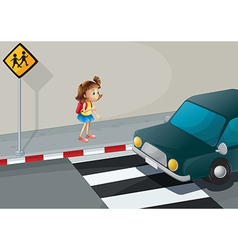 A little girl near the pedestrian lane vector