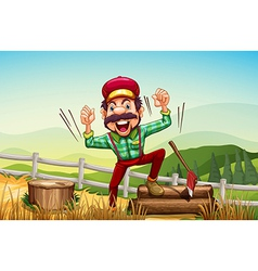 A happy woodman at the hilltop vector image