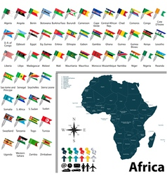 African political map with flags vector