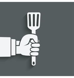 Chef hand with turner vector