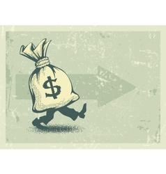 Full sack of money walking vector image