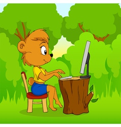 Cute female bear typing on computer in forest vector