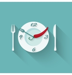 Plate with cutlery - fork and knife time to eat vector
