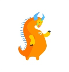 Orange fat childish monster with blue horns vector