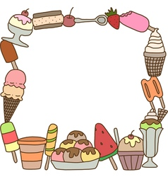 Frame of colorful tasty ice cream vector