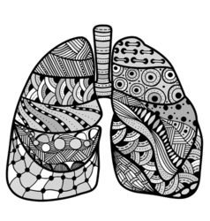 Hand drawn sketched lungs vector
