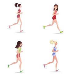 active running girls vector image