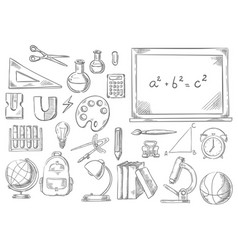 back to school study supplies sketch icons vector image vector image
