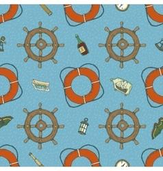 Blue marine seamless pattern vector