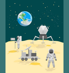 Cartoon astronauts on moon surface landscape vector