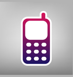 Cell phone sign purple gradient icon on vector