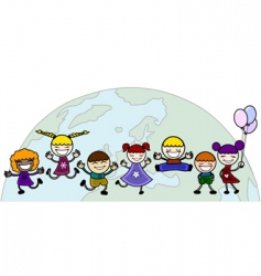 children with world vector image vector image