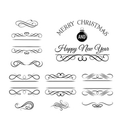 Christmas and New Year Greeting Card Vintage and vector image