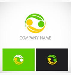 circle ecology green leaf logo vector image vector image