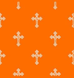 Cross with diamonds pattern seamless vector