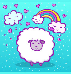 Cute doodle sheep on a blue background vector