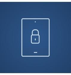 Digital tablet security line icon vector