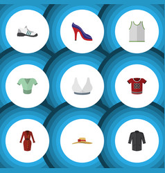 Flat icon clothes set of casual brasserie vector