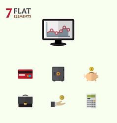 Flat icon gain set of calculate payment hand vector