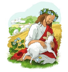 jesus story the parable of the lost sheep vector image vector image