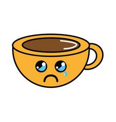 Kawaii cute crying coffee cup vector